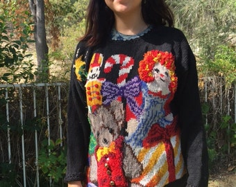 Ugly Christmas sweater, Christmas sweater, Raggedy Ann,teddy bear with bells, size medium – large