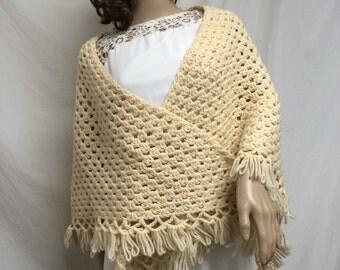 Crochet shawl,Tan knit shawl,knit wrap ,fringed shawl, Crochet