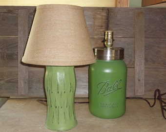 Mason Jar Lamp Pair, Mason Jar Lighting, Up-cycled Vase and Mason Jar Lamp Set, Green Lamp, Mason Jar Decor, Rustic Lighting