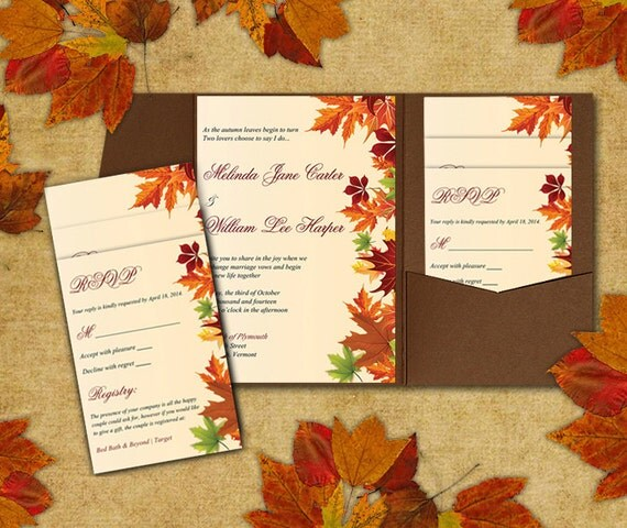 DIY Wedding Pocketfold Template Autumn Leaves Red Orange