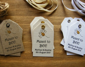 Personalised Wedding Favour Honey Jar Meant to Bee Produce Favour Tags-Vintage