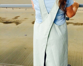 Japanese style linen apron smock dress pinafore eau de nil blue with white stripe WITH PATCH POCKETS