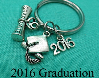 2016 Graduation Keychain, Graduation Keychain, High school graduation gift, College graduation gift, Custom keychain, Personalized gift