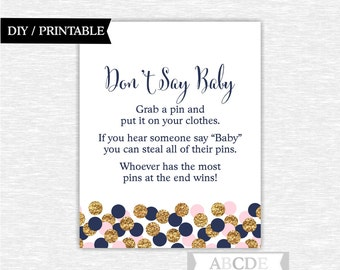 Dont say baby game sign pink navy glitter gold confetti girl baby shower don't say baby game sign printable baby shower game (CON202)