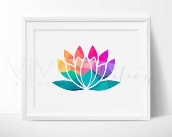 Geometric Lotus Flower Print, Flower Art Print, Geometric Wall Decor, Spiritual Art, New Age Zen Home Decor, Modern Wall Art, Not Framed