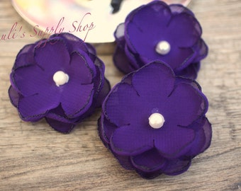 "Set of 3 Purple 1.5"" Chiffon Flowers w/ Pearl Center - Petite flower - Chiffon Flower - Fabric Flower - wholesale flowers - Headbands Supply"