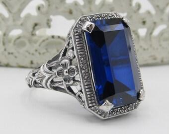 SapphireSterling Silver Floral Filigree Statement Ring/ Antique Vintage Art Deco Victorian