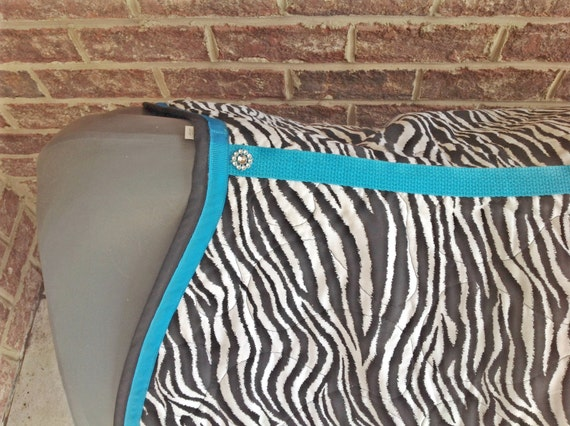 custom made english saddle pad in zebra print with colored