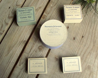 French Pharmacy Boxes - Set of 5 - Vintage Apothecary Box - Cardboard Pill Box - Round Chemist Box - Craft Supplies Box - Jewelry Box