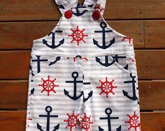 Baby Boys Overalls, Baby boys Shortalls, boys overalls,  Ships Ahoy Adorable Nautical print, Size 0  Simply devine