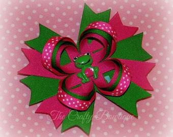 Frog Hair Bow ~ Large Frog Bow ~ Hot Pink & Green Bow ~ Green Hair Bow ~ Hot Pink Hair Bow ~ Polka Dot Bow ~ Green Frog Bow ~ Frog Headband