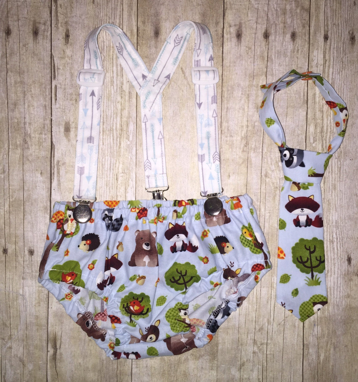 Boys Cake Smash Outfit Woodland Animals And Arrows Diaper