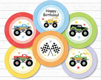 Monster Trucks Cupcake Toppers , Monster Trucks stickers, Monster Trucks birthday, Monster Trucks party, Printable, INSTANT DOWNLOAD