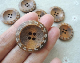 15Pcs  28mm Brown coffee  Wood button 4 holes( NW111)