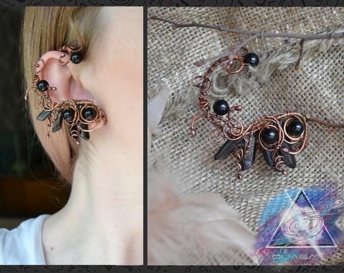 "Ear cuff ""Black birds"" | quartz crystals, wire ear cuff, original jewelry,copper jewelry, magic crystals, boho crystals"