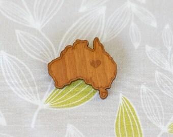 Australia Love Brooch - Illustrated Vintage Style Design - Laser Cut - Cherry Timber