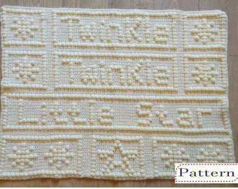 Twinkle Twinkle Little Star Baby Blanket Crochet Pattern by Peach.Unicorn