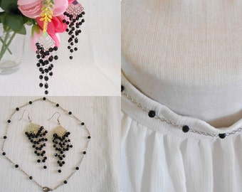 Jewelry Set Necklace  Earring - Black beads - Handmade Jewelry Thailand.(JS4011-BK)
