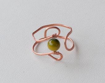 Beaded copper ring