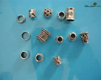 A set of 13 PCs Tibetan Silver Metal Beads Set Dreadlock Beads dread beads