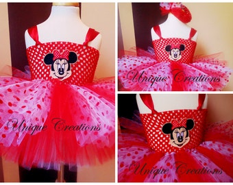 Minnie mouse inspired tutu dress with 6 layers of tulle, embroidered patch, embellishments