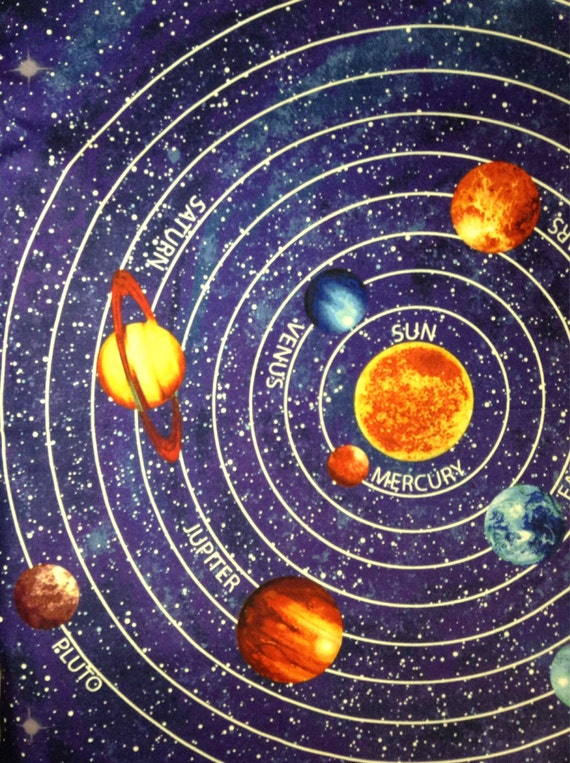 One panel of fabric material outer space solar system panel for Fabric planets solar system