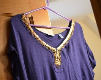 Vintage summer beach shirt: royal purple-blueish golden sequined/beaded blouse/top/shirt, Moroccan/Arab style