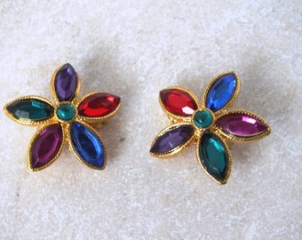 Vintage Multi-Color Rhinestone Gold Tone Flower Clip Earrings - Free Shipping