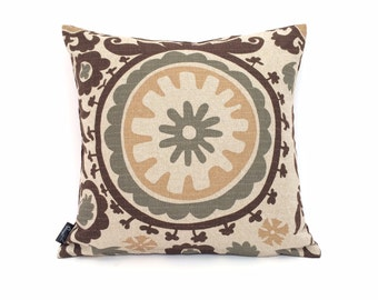 Throw Pillow  , Hacienda Pillows, IKAT Golds and Browns, and Green and Velvet Backing P-2-171