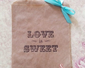 Love is Sweet Kraft brown Paper Candy Buffet Lolly Bags x 50