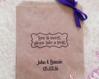Personalised Love is sweet Kraft Brown Paper Candy Buffet Lolly Bags x 50