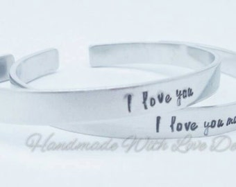 I love you, I love you more, couples cuff bracelet, his hers, handstamped bangle