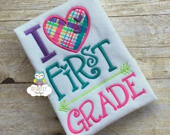I Love First Grade Shirt, Girl Back to School Shirt, First Day of School Shirt,I love School, 2nd Grade, 3rd Grade, 4th, 5th, 6th Grade