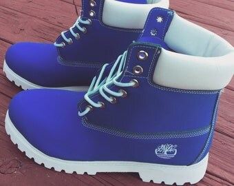 Custom Blue and white Timberlands