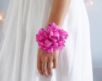 Pink wrist corsage, wedding flower bracelet, flower, handmade, prom, wrist corsage, bride