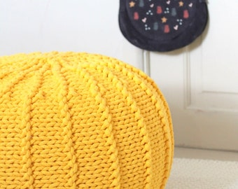 Yellow pouffe pouf ottoman nursery kids room decor furniture beanbag pouffe footstool knitted crochet crocheted pouf