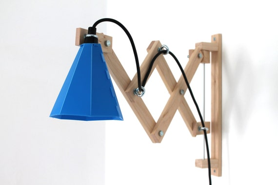 blue wall mounted swing arm lamp retro design scissor lamp. Black Bedroom Furniture Sets. Home Design Ideas