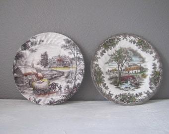 Vintage Transferware Plates, Decorative Plates, Staffordshire, Yorkshire, Ironstone, Franciscan