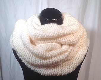 Winter White Extra Long Knit Infinity Scarf