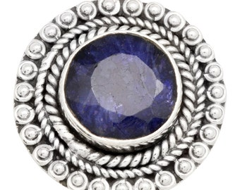 Natural Sapphire Ring Solid 925 Sterling Silver Jewelry Size 5.75 IR33823
