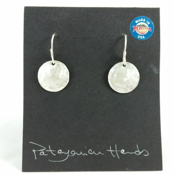 Handmade, hand hammered round Fine Silver (.999) earrings. Free shipping in the U. S.
