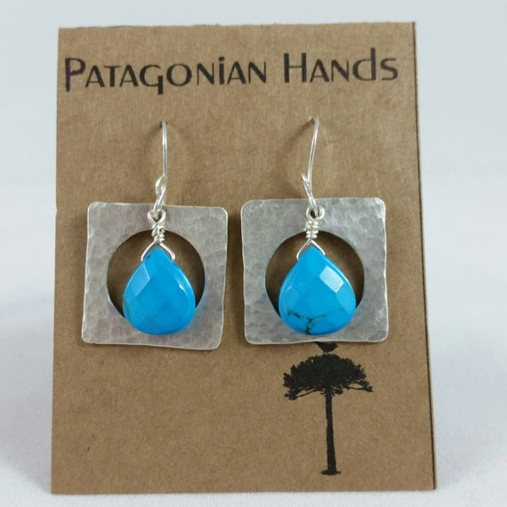Handmade  Fine Silver (.999) square earrings with Magnesite  tear drop gemstone. Free shipping in the U. S.