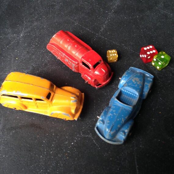 Three Vintage Die Cast Tootsie Toy Cars 3in 1940s Woody Wagon