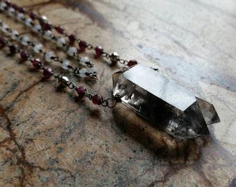 OOAK Terminated Smokey Quartz, Garnet, Pyrite and Moonstone Multi Strand SS Necklace