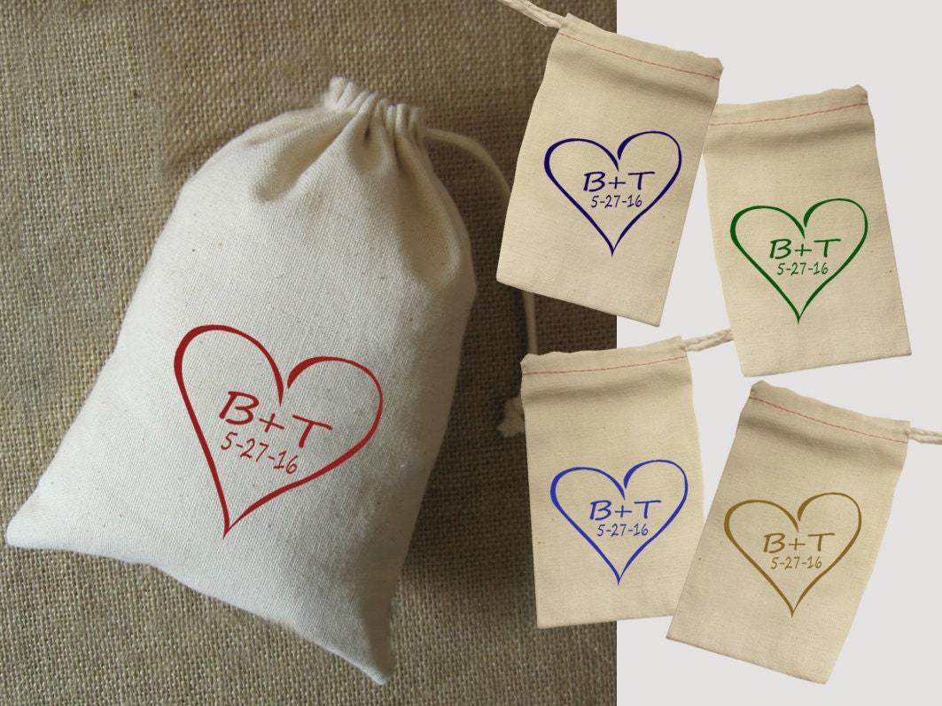 Wedding favor bags set of 10 fabric bag 5x7 personalized for Wedding favor gift bags