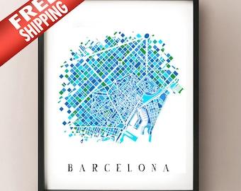 Barcelona Colored Art Map - Spain Art Map - Barcelona, Catalunya