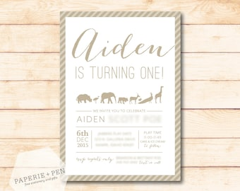 Animal Parade Zoo Birthday Invitation or Baby Shower