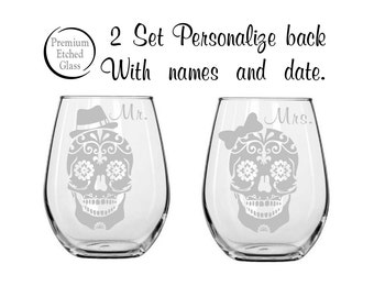 Personalized Sugar Skull Wedding Glasses,Etched wine glasses,engagement gifts,stemless wine glass,personalized gift,valentines gift