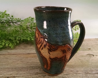 18 oz Earthy Blue Howling Wolf Nature Mug - Wheel Thrown and Hand Carved Coffee Cup