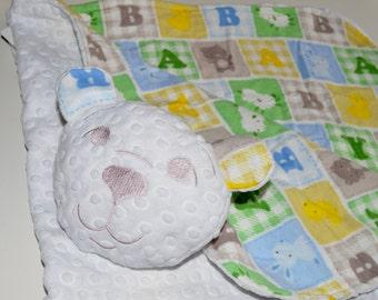 Baby/toddler blanket-Blanket with Friend- bear minky blanket, Security Blanket ,Teddy  lovie, buddy blanket, 3-in-1, blanket-pillow -toy